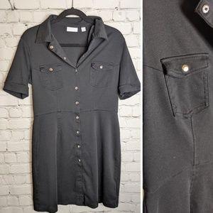 100% Cotton Button-Up Black Dress - Sz L